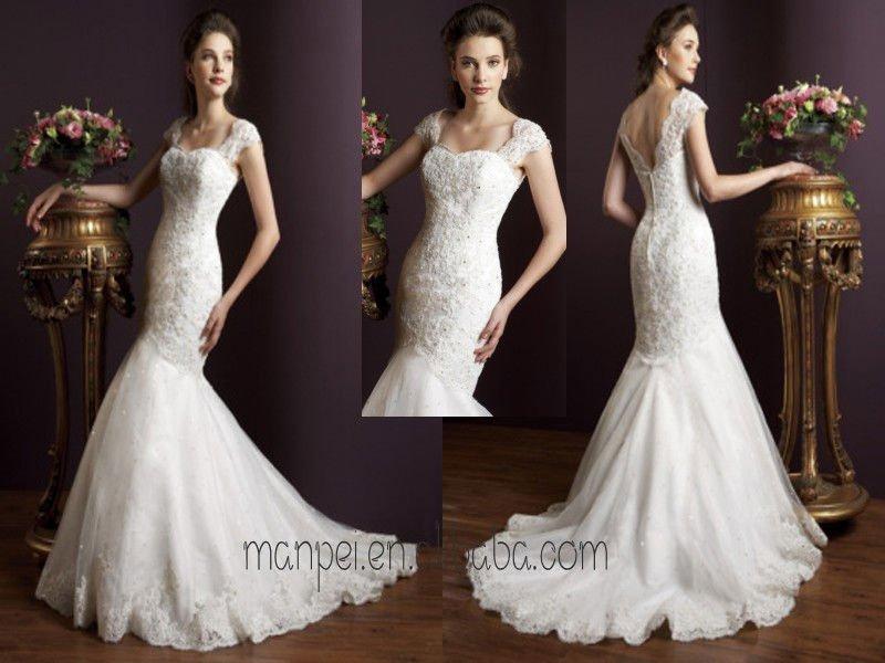 appliqued fabuloso sereia V -back tail casamento vestido de noiva , MPW -117(China (Mainland))