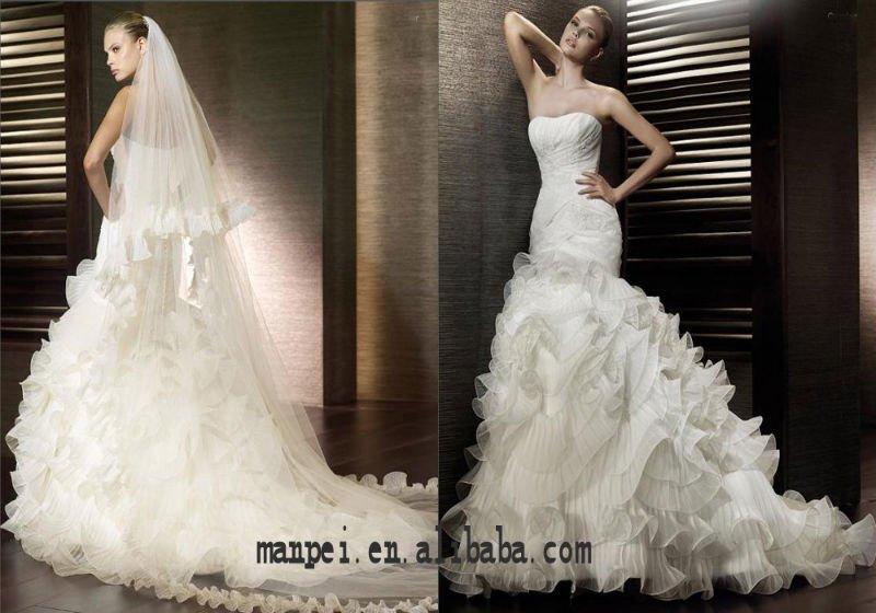 strapless fabuloso sereia babados casamento cauda vestido de noiva , MPW -130(China (Mainland))