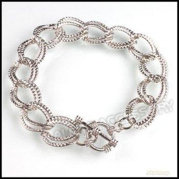 18pcs/lot  20cm Rhodium Plated Iron European Clip Double-Link Chain Bracelet Fit Lobster Pendant 220086