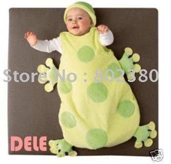 Free shipping by EMS/ Fashion Baby Sleeveless baby Sleep wear/infant sleeping bag/ frog shape sleeping Sack With Cap, 10pcs/lot
