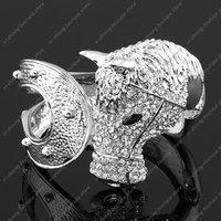 Free shipping Horse steed head bracelet clear rhinestone crystal fashion bangle cuff gift silver