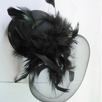 mini top hat/NEW burlesque feather face veil Black fascinator hat