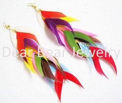 12 Pairs/lot 2011 new design Free Shipping Summer Design Funky Long Dangle Colorful Natural Multi Feathers Earrings EF11059(China (Mainland))