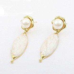 Wholesale Fashion Jewelry, Wholesale 50 pairs/Lot Crystal Pearl Flower Stud Earrings, Korea Taste, Free Sh ...