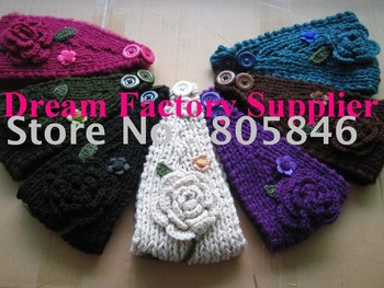 Hand made Knit Headwrap Headband Ear Warmer with Hand Crochet Flowers, Hand Crochet Leaves and Beads,High Qualtiy,Free Shipping