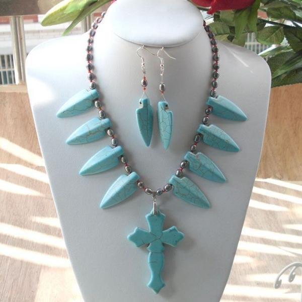 UNIQUE TURQUOISE CROSS PEARL NECKLACE EARRING RING(China (Mainland))