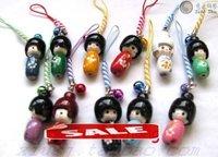 New 50 Pcs Japanese Creative Kokeshi Dolls Girls Phone Straps lovey Gift+Free shipping