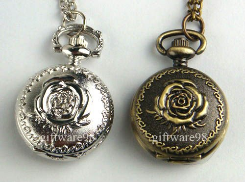 Wholesale and retail Top Fashion Silvery Bronze White Rose Necklace Pendant Pocket Watch J0031(China (Mainland))