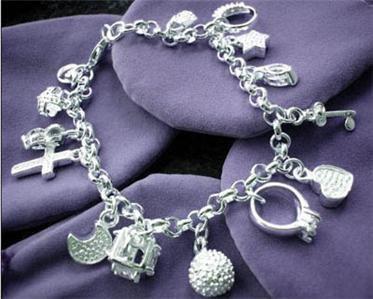 Free Shipping Wholesale 925 Silver Fashion Women Jewelry Genuine Zircon Crystal Gem Cross Star Charm Bracelets