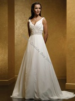 Embroidered Elegant Sleeveless Floor-Lenght A-Line Wedding dress,Bride Dress,Custom Size and Color