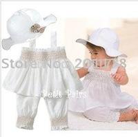 2014 conjunto de roupa kids clothes sets baby girl hat/ top/pant, 3pcs/set beach suit, free shipping 4sets/lot wholesales 112