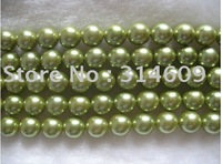 Free Shipping Hot Sale A Shell Pearl Bracelet Beads Yellow-green/Round 12mm 16""