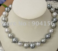 "12mm Gray south sea shell pearl necklace 18"" AAA+  Free Shipping"