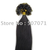 "20""nail tip human hair Extensions 100s #1B natural black,0.7g/s"