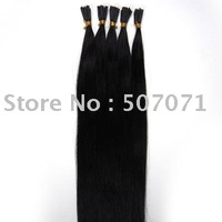 "18"" pre-bonded hair extension,keratin glue tip human hair #01 jet black,100s/set 0.5g/s"