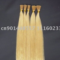 "18"" pre-bonded hair extension,keratin glue tip human hair extensions #613 lightest blonde 100s/set 0.5g/s"