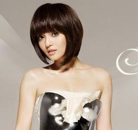 short brown fashion wigs hair ladies's wigs wave curly wigs synthetic wigs costume wigs bob wig Escrow / Free shipping