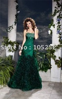 2011 wholesales free shipping off-shoulder green taffeta beads prom dress