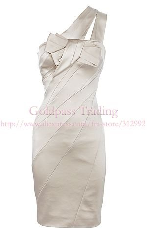 Free shipping! New arrival high fashion, One-shoulder stretch satin dress Dress, Ivory women evening dress, pencil dress,LG-013B(China (Mainland))