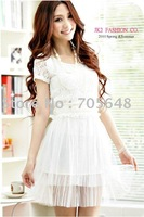 Free shipping wholesale white ladies elegant lace casual office dresses wear FY2547