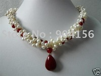 .Exquisite white pearl Red jade pendant necklace L15  Free Shipping