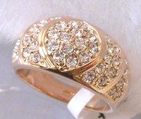 Мужские кольца; 18k желтого & белое золото gp изумрудные глаза леопард головы кольцо.; можно смешивать