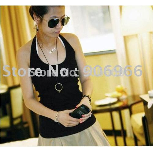 Free Shipping/Cotton Halter Vest / Halter Camisole - Black(China (Mainland))