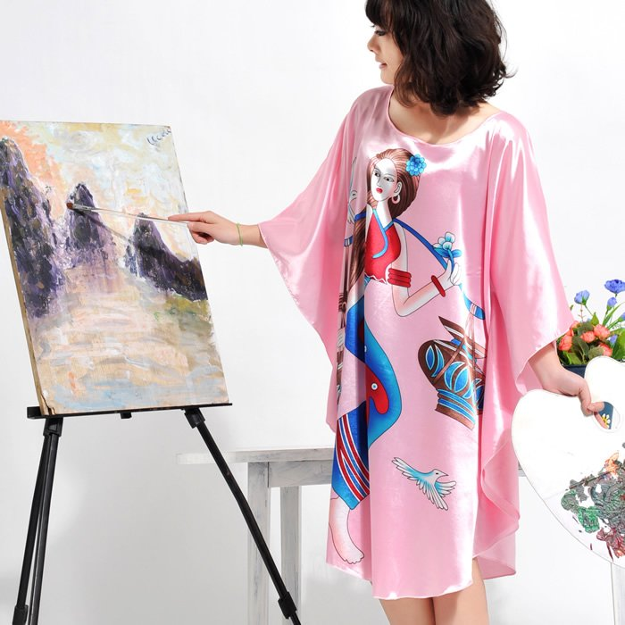 Free shipping New arrival 2011 Spring silk Ladies Pajamas / Sleep Wear / Night Skirt(China (Mainland))