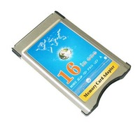 Wholesale Free Shipping New 16 in 1  PCMCIA Memory Card Reader Support SDHC up to 32GB SD MMC MS
