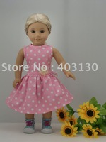 "Pink Spots Party Dress fits 18"" American Girl Doll Clothes 1026a"