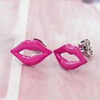 EMS shipping +attractive style mouth tppe enaml earring