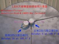 Free Shipping, C Band Dual LNB Holder, Dual Satellite LNB Bracket Holder, LNBF Holder for prime focus antenna