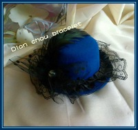 Freeshipping wholesale and retail Party HAT Mini FASCINATOR feather Veil GOTHIC LOLITA party dia13cm