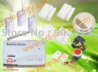 Free shipping wireless home security GSM alarm system tir-band  with 3 PIR + 4 door sensor+1 smoke alarm 2set/lot