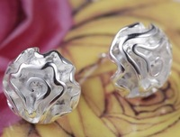 Hot~Free shipping 925 sterling silver Nice rose Woman earring.fashion earring.925 silver earring.Super Price,