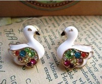 Fashion 925 Silver White Swan Embedded Diamond Earrings Free Shipping