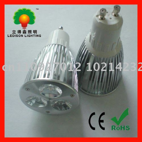 Free shipping DIMMABLE GU10 9W LED bulb light CE RoHS approval(China (Mainland))