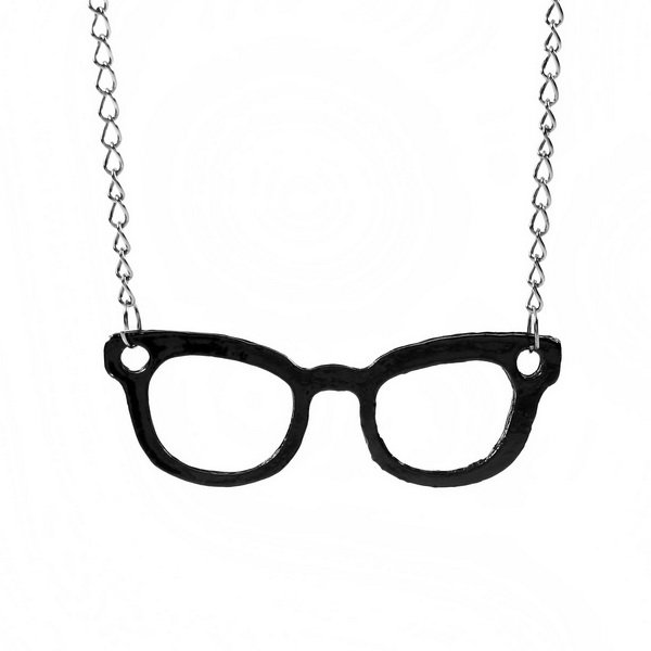 Antique Simple style Glasses Pendant Necklace Black free shipping by China Post Air Mail(China (Mainland))