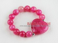 Hot pink acrylic beaded stretch bracelet