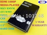 "5pcs/lot 1080P Full HD HDMI Media Player 2.5""HDD HDTV MKV RMVB AT-M011 free shipping airmail"