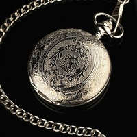 WP029 New Mens Stainless Steel Pattern Case White Dial Antique Style Pocket Watch with Chain