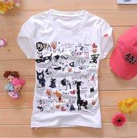 Free Shipping,2011 Newest Summer Fashion HOT,Wholesale Women's Short Sleeve Shirts,White with Many Animals Ladies T-Shirt ST0065