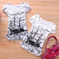 Free Shipping,2011 Newest Summer Fashion,Wholesale Women's Short Sleeve Shirts,White Hem wrinkle sailing Ladies T-Shirt ST0092