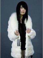 Women's Rabbit Fur Coats Fur Jacket Rabbit white Tutou fox collar new style