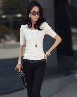 Free Shipping,2011 Newest Summer Fashion,Wholesale Women's Short Sleeve Sexy Shirts,White Bubble sleeve Ladies T-Shirt ST0104