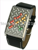 Tokyo Retro Digital Flash Binary LED Watch Leather  free shipping  wholesale/Retail