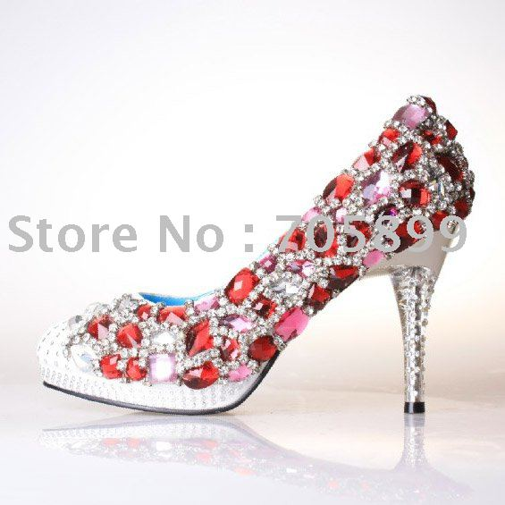women Diamond bridal shoes luxury high heel fashion shoes evening sandals freeship hand made bridal shoes 10% off size 30-43(China (Mainland))
