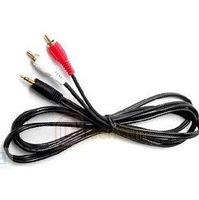 Wholesales 3.5mm Headphones Plug Jack to 2 x RCA Audio Cable 100 PCS Free Shipping(DHL)