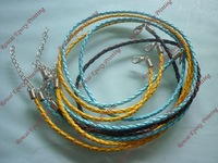 500pcs mix color 3mm 18inch braided PU leather ncklace cord for gift free shipping