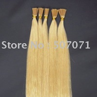 100S/lots 20 inch stick tip human hair extension , keratin glue tip human hair #613 lightest blonde 0.5g/s